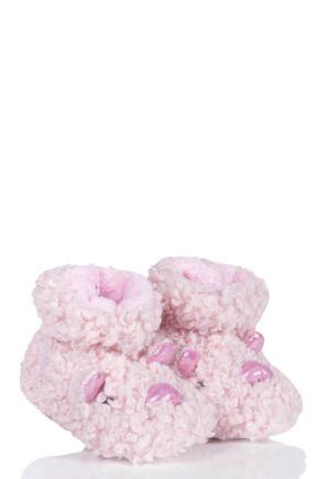 Girls 1 Pair Totes Animal Padders Slipper Socks Pig 12-18 Months