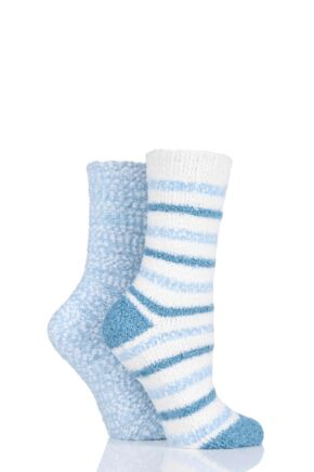 Ladies 2 Pair Totes Cosy Popcorn Striped Socks