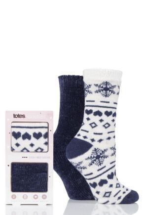 Ladies 2 Pair Totes Chenille and Fairisle Bed Socks