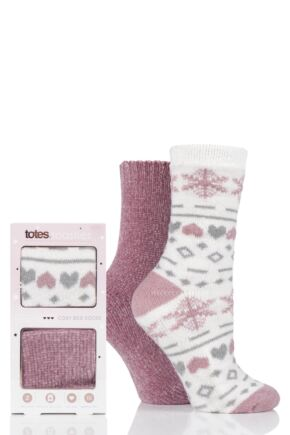 Ladies 2 Pair Totes Chenille and Fairisle Bed Socks