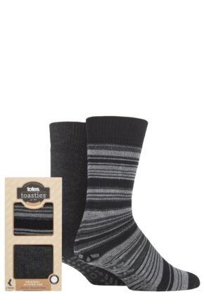 Mens 2 Pair Totes Original Plain and Patterned Slipper Socks Grey Stripe 7-12 Mens