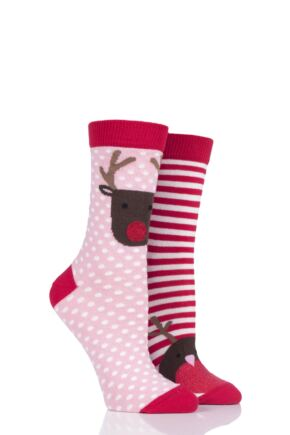 Ladies 2 Pair Totes Christmas Cracker Gift Box Cotton Socks
