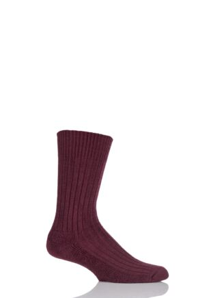 Mens 1 Pair Glenmuir Cushion Sole Wool Golf Socks Burgundy