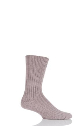 Mens 1 Pair Glenmuir Cushion Sole Wool Golf Socks Fawn