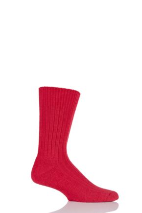 Mens 1 Pair Glenmuir Cushion Sole Wool Golf Socks Red