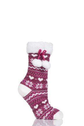 Ladies 1 Pair Totes Fleece Lined Fairisle Slipper Socks with Tassle Berry 4-7 Ladies