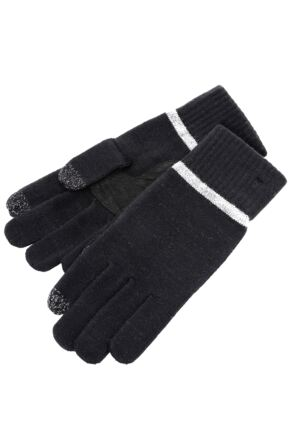 Mens 1 Pair Isotoner Smartouch Plain And Stripe Cuff Knit Gloves 50% OFF