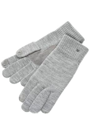 Mens 1 Pair Isotoner Smartouch Plain And Stripe Cuff Knit Gloves Charcoal