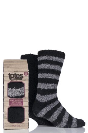 Mens 2 Pair Totes Twin Super Soft Stripe and Plain Bed Socks