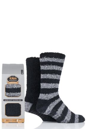 Mens 2 Pair Totes Twin Super Soft Stripe and Plain Slipper Socks