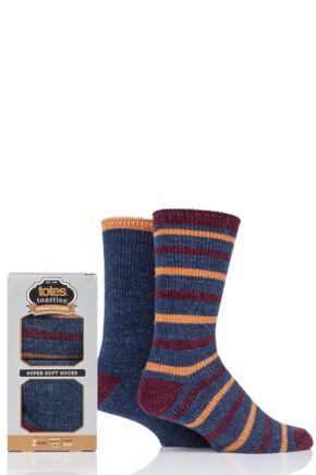 Mens 2 Pair Totes Super Soft Stripe and Plain Socks Blue 7-12 Mens