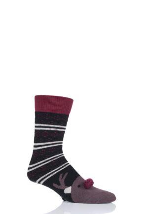 Mens 1 Pair Totes Original Novelty Slipper Socks with Grip