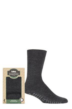 Mens 1 Pair Totes Originals Slipper Socks Charcoal 7-12 Mens
