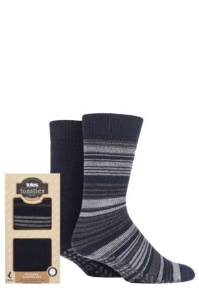 Mens 2 Pair Totes Original Plain and Patterned Slipper Socks Navy Stripe 7-12 Mens