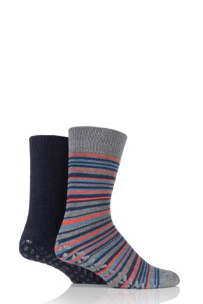 Mens 2 Pair Totes Wool Blend Original Plain and Striped Slipper Socks