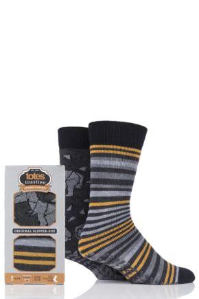Mens 2 Pair Totes Original Plain and Patterned Slipper Socks