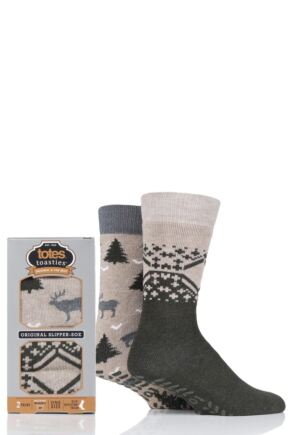 Mens 2 Pair Totes Original Plain and Patterned Slipper Socks