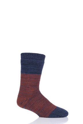 Mens 1 Pair Totes Chunky Textured Fleece Lined Socks Navy 7-12 Mens