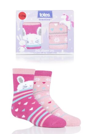 Girls 2 Pair Totes Tots Originals Novelty Slipper Socks