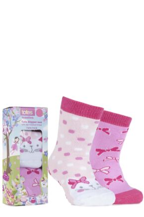Girls 2 Pair Totes Tots Novelty Slipper Socks with Grip Cat 1-3
