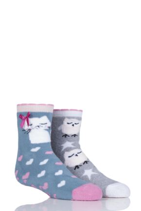 Girls 2 Pair Totes Tots Owl and Pussy Cat Slipper Socks with Grip Blue 1-3 Years