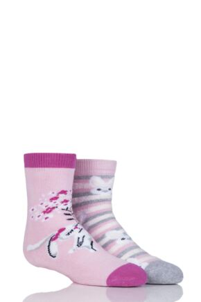 Girls 2 Pair Totes Tots Rabbits Slipper Socks with Grip Pink 1-3 Years