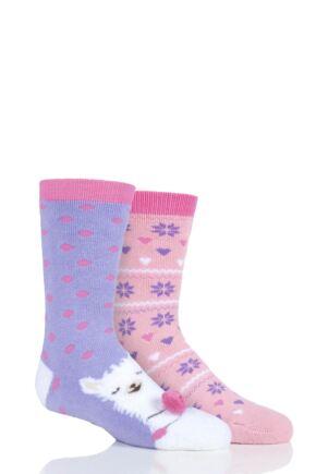 Girls 2 Pair Totes Originals Novelty Slipper Socks Lama 7-10 Years