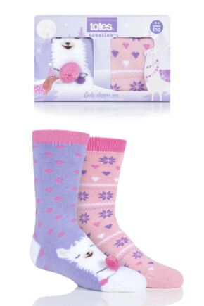 Girls 2 Pair Totes Originals Novelty Slipper Socks Llama 3-6 Years