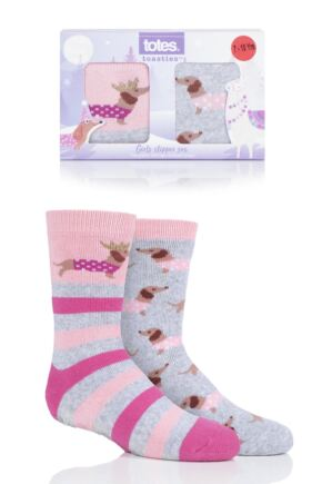 Girls 2 Pair Totes Originals Novelty Slipper Socks Sausage Dog 7-10 Years