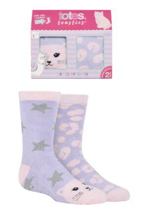 Girls 2 Pair Totes Originals Novelty Slipper Socks Cat 3-6 Years