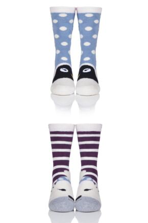 Girls 2 Pair Totes Novelty Penguin and Polar Bear Slipper Socks with Grip