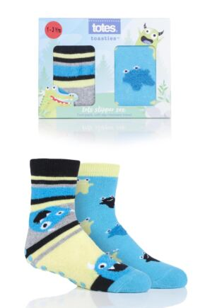 Boys 2 Pair Totes Tots Originals Novelty Slipper Socks