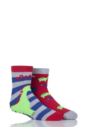 Boys 2 Pair Totes Tots Novelty Dinosaur Slipper Socks with Grip Red 1-3 Years