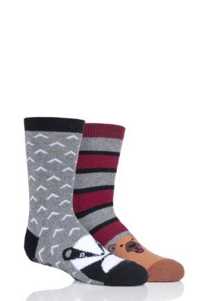 Boys 2 Pair Totes Originals Novelty Slipper Socks