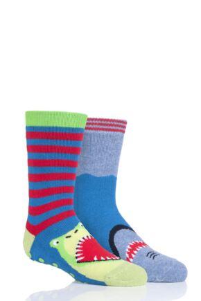 Boys 2 Pair Totes Originals Novelty Slipper Socks Shark Dino 7-10 Years