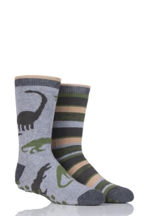 Boys 2 Pair Totes Novelty Dinosaur Slipper Socks with Grip Grey 3-6 Years