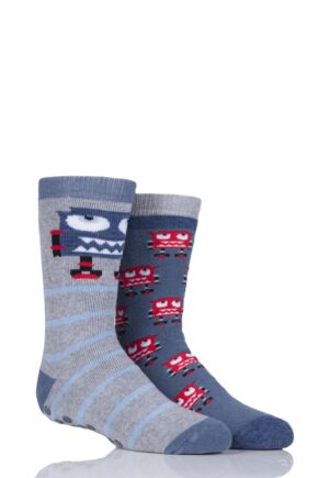 Boys 2 Pair Totes Novelty Robots Slipper Socks with Grip Grey 3-6 Years
