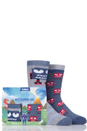 Boys 2 Pair Totes Novelty Robots Slipper Socks with Grip Grey 7-10 Years