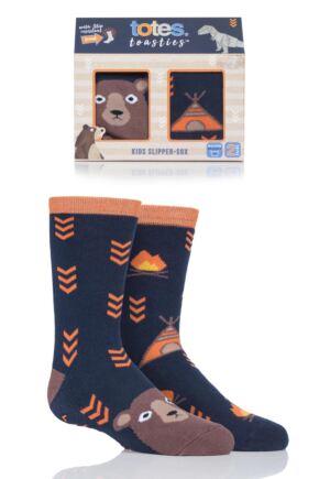 Boys 2 Pair Totes Originals Novelty Slipper Socks Bear 3-6 Years