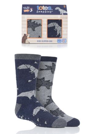 Boys 2 Pair Totes Originals Novelty Slipper Socks
