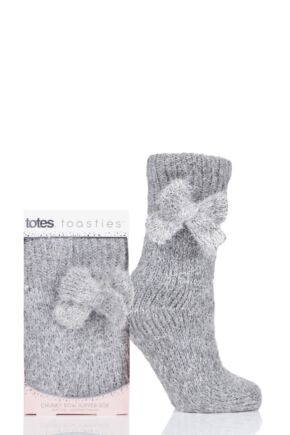 Ladies 1 Pair Totes Bow Sparkle Chunky Knit Socks