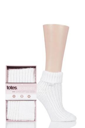 Ladies 1 Pair Totes Luxurious Super Soft Bed Socks White 4-7 Ladies