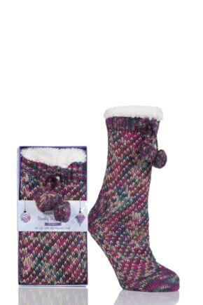 Ladies 1 Pair Totes Fleece Lined Textured Rib Slipper Socks with Pom Pom Berry 4-7 Ladies