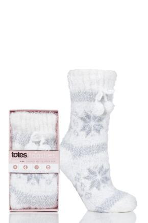 Ladies 1 Pair Totes Fleece Lined Chunky Socks White 4-7 Ladies