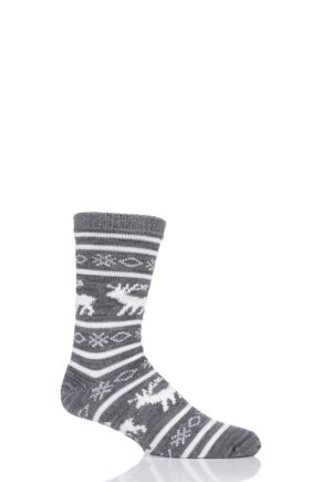 Mens 1 Pair Totes Reindeer Fairisle Chunky Lined Socks