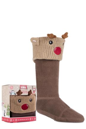 Boys and Girls 1 Pair Totes Christmas Novelty Welly Boot Socks Reindeer 2-4