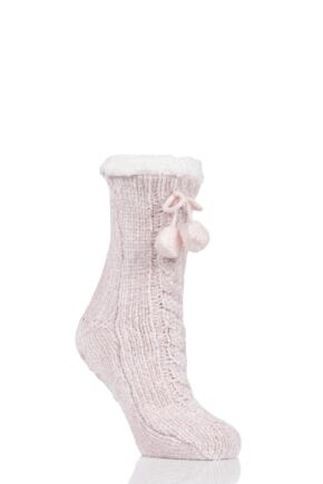 Ladies 1 Pair Totes Cable Front Chenille Lined Socks with Pom Pom