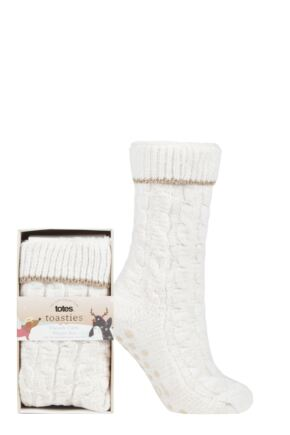 Ladies 1 Pair Totes Cable Front Chenille Lined Slipper Socks