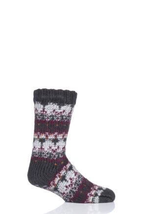 Mens 1 Pair Totes Brushed Fairisle Fleece Socks