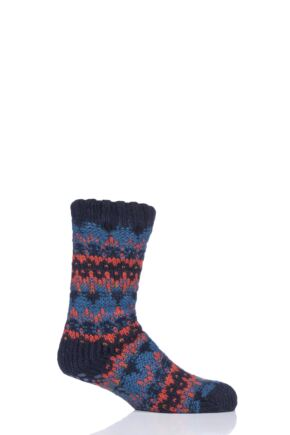 Mens 1 Pair Totes Brushed Fairisle Fleece Socks Orange 7-12 Mens